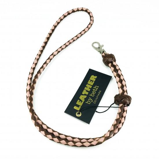 Whistle leash, cognac/pink